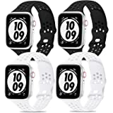 iWabcertoo Compatible with Apple Watch Bands 38mm 40mm 42mm 44mm,4 Packs Sport Breathable Soft Silicone Replacement Straps Co