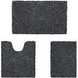 HOMEIDEAS Microfiber Absorbent Bath Rug, Chenille Washable Floor Mat -Non Slip Soft Carpet Dark Gray