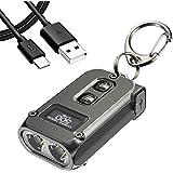 Nitecore TINI 2 Gray 500 Lumen USB-C Rechargeable Keychain Flashlight plus LumenTac Charging Cable