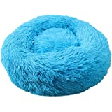 BLEVET Warm Washable Comfortable Pet Bed Sofa Round Nest Sleeping Cushions for Cats and Dogs (Diameter:60cm, Blue)