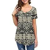 KOAIZ Womens Casual Knit Tunic Blouse V-Neck Pleated Short Sleeve Henley Tops Loose Curved Hem Shirts