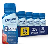 Ensure Enlive Meal Replacement Shake, 20g Protein, 350 Calories, Advanced Nutrition Protein Shake, Strawberry, 8 Fl Oz (Pack