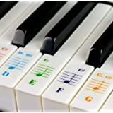 Colorful Piano Stickers for 49/61/ 76/88 Key Keyboards, Transparent Removable Double Layer Coating