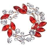 Gyn&Joy Clear Crystal Rhinestone Floral Wreath Pin Brooch BZ005