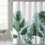 KGORGE Shower Curtains for Bathroom - Tropical Leaves Plant on White Background Odorless Print Curtain for Bathroom Showers a