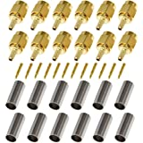 BeElion(TM) 12-Pack SMA Male Crimp Straight Connector RF Coax Adapter For RG188 RG178 RG316 RG174A-U/LMR100A/RFC100A Cables