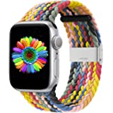Bandiction Compatible with Apple Watch Bands 38mm 40mm 42mm 44mm, iWatch Bands for Women Men, Adjustable Braided Solo Loop wi