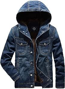 デニムジャケット メンズフード付きカジュアル長袖コットンクロップド レギュラーフィットモーターサイクルコート ユーズド加工のクラシックデニムジャケット