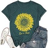 T&Twenties Women Rise and Sunshine T-Shirt Cute Sunflower Graphic Short Sleeve Tees Tops