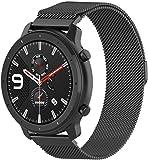 HUAWEI Watch GT2 バンド 交換ベルト HUAWEI Watch GT2 QuickFitバンド ステンレス製リストバンド 通気穴設計 ぜいたくビジネススタイル 製腕時計 ストラップ 多色選択 マグネット付き HUAWEI Watch GT2 42mm用