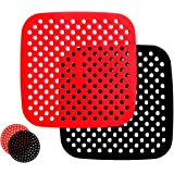 PINEPOEM Air Fryer Liners Reusable Silicone, Bamboo Steamer Liner, Perforated Liner for Air Fryer