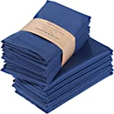 Cotton Dinner Napkins 12 Pack, Luxurious Linen Cloth Napkins Soft and Comfortable - Deluxe Hotel Quality Table Napkins - Perf