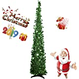 BengPro Collapsible Christmas Tinsel Trees 5 Foot Artificial Xmas Halloween Costume Tree, Pop Up Multicolored Pencil Sequin C