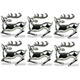 DII Napkin Rings for Christmas, Holidays, Parties, Everyday Use, Set of 6, Silver Stag