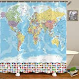 World Map Shower Curtain, World Map with Detailed Major and Cities National Flag Bathroom Curtain, Educational World Map Fabr