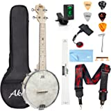 AKLOT Banjo Ukulele Concert 23 inch Remo Drumhead Open Back Maple Body 15:1 Advanced Tuner with Two Way Truss Rod Gig Bag Tun