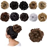 Hairro Messy Hair Bun Extensions Hair Piece Curly Wavy Scrunchies #10 Ash Brown Synthetic Chignon with Elastic Rubber Band Po