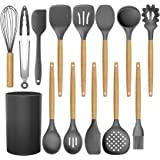 BRITOR 14 Pcs Silicone Cooking Kitchen Utensils Set with Holder,Woodle Handle BPA Free Non Toxic Non-Stick Heat Resistant Sil