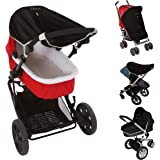 Universal fit Pram and Bassinet Baby Sun Shade and Blackout Blind (0-6m) | Blocks 99% of UV (UPF50+) | Air-Permeable and Univ