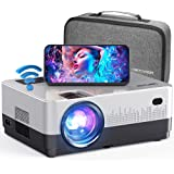 DBPOWER WiFi Projector, 6000L Full HD Wireless Mini Projector with Carry Case, Support iOS/Android Sync Screen, 4.3'' LCD Vid
