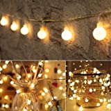Globe String Lights 49ft 100 LED with Remote Timer,Fairy String Light 8 Modes Dimmable for Indoor Bedroom Outdoor Party Weddi