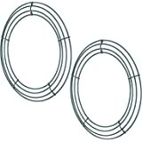 2 Pack Wire Wreath Frame Wire Wreath Making Rings Green for New Year Valentines Decoration (12 Inch)