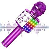 【2020最新版】 カラオケマイク bluetooth ワイヤレスマイク LEDライト付き 音楽再生 録音可能 家庭カラオケ ポータブルスピーカー ノイズキャンセリング 2400mAh TFカード機能 Android/iPhoneに対応 XIANRU