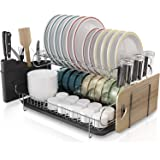 Kitchen Dish Rack, Boosiny 2 Tier Large 304 Stainless Steel Dish Drying Rack with Drainboard Set Utensil Holder Dish Drainer,