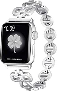 Secbolt Stainless Steel Bands Compatible Apple Watch Band 38mm 40mm iWatch Series 5, Series 4, Series 3, Series 2, Series 1, Shamrock Link with Diamond Women Girls, Silver