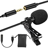 Eocean Professional Grade Lavalier Lapel Microphone Mini Directional Mic with Easy Clip on System, Perfect for Recording, Y