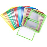 Dry Erase Pockets - Reusable + Oversized - Size 10 X 13 Inches - 30 Pockets for Adults and Children - Mixed Colors - Ideal to