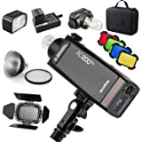 GODOX AD200Pro AD200 Pro with BD-07 Barn Door Honeycomb Grid 4 Color Filter Kit, Standard Reflector with Soft Diffuser, 200W
