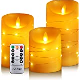 DANIP LED flameless Candle, with Embedded Starlight String, 3-Piece LED Candle, with 10-Key Remote Control, 24-Hour Timer Fun