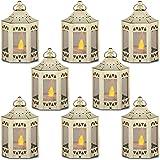 zkee Mini Candle Lantern with Flickering LED,Battery Included,Decorative Hanging Lantern,Christmas Decorative Lantern,Indoor