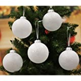 Festive Season 12pk 80mm White Snowball Christmas Tree Ball Ornaments