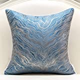 Avigers 20 x 20 Inch Square Navy Blue Silver Gold Abstract Striped Embroidery Cushion Case Luxury Modern Throw Pillow Cover D