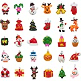kockuu 30pcs Mini Christmas Ornaments, Resin Design with Santa Clause, Snowman, Angle and More Ornaments