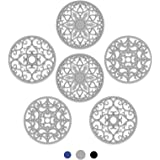 SMARTAKE 6 Set Silicone Trivet Mats, Multi-Use Intricately Carved Coasters, Insulated Non-Slip Durable Kitchen Mats, Flexible