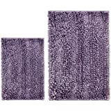 Cosyroom Set 2 Piece Microfiber Bathroom Rugs Extra Soft Absorbent, Luxury Butter Chenille Shaggy Bath Mats, Non Slip Shower