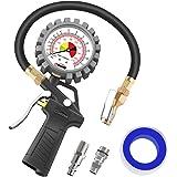 Oasser エアゲージ エアチャックガン タイヤゲージ アナログ表示 空気入れ 空気抜き 自動車 バイク用 測定 P5-A