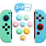 10-Piece Silicone Cat Paw Thumb Grip Set Includes 8 Joystick Covers and 2 Left-Hand and Right-Hand Silicone Game Shell Covers