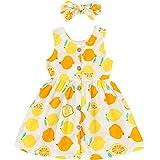YOUNGER TREE Toddler Dresses Lemon Baby Girls Pineapple Fruit Dress Outfit Summer Girl Dress Spring Sundress