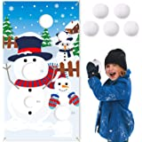 CiyvoLyeen Snowman Toss Games Banner, Winter Christmas Holiday Party Cornhole Game with 5 Snowballs for Kids Adults Family Ga