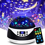 MOKOQI Modern Rotating Moon Sky Projection LED Night Lights Toys Table Lamps with Timer Shut Off & Color Changing for Baby Gi