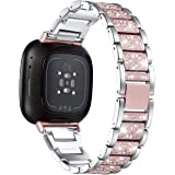 Mtozon Bling Bands Compatible with Fitbit Sense/Versa 3, Women Replacement Wristbands Dressy Luxurious Bracelet for Ladies, S