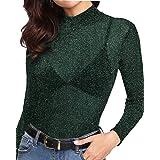 MANGOPOP Women's High Neck Glitter Long Sleeve Mesh Tops Tee Blouse