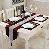 Labellevie Set of 5 New Shinny Bling Thick Velvet Tassel Table Runner Together with 4 Pieces Placemat Coffee