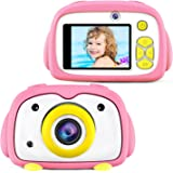 BlueFire Kids Camera 12MP HD Digital Camera for Kids Mini 2 Inch LCD Screen Child Camcorder with Cartoon Penguin Silicone Cas