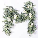 PARTY JOY Artificial Eucalyptus Garland with Champagne Roses Greenery Garland Eucalyptus Leaves Wedding Backdrop Wall Decor E