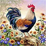 Mobicus 5D DIY Full Diamond Diamond Painting,Living Room Decorative Wall Stickers Wallpaper,Rooster(35x35cm/14x14inch)